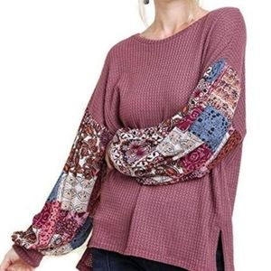 Umgee Waffle Knit Boho Quilted Pattern Sleeve Top